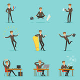 Businessman Work Process Series Of Business Related Scenes With Young Entrepreneur Cartoon Character. Manager In Suit Working In The Office And Out Of It In Royalty Free Stock Photos