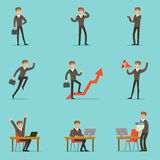 Businessman Work Process Set Of Business Related Scenes With Young Entrepreneur Cartoon Character. Manager In Suit Working In The Office And Out Of It In Royalty Free Stock Photography