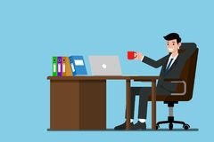 Businessman work relax at the desk and drink a cup of coffee. Flat vector illustration design of employee character working with the laptop computer Royalty Free Stock Photography