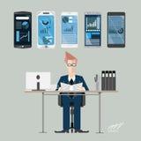 Businessman at work statistics. Flat design illustration Stock Photography