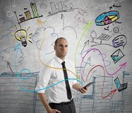 Businessman at work with tablet stock images