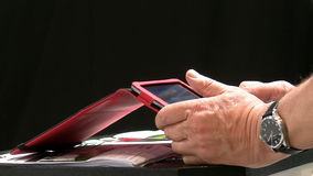 Businessman at work using smartphone stock footage
