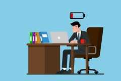 Businessman work very exhausted with out of energy. Businessman work very exhausted at the desk and running out of energy. Flat vector illustration design of Stock Photo