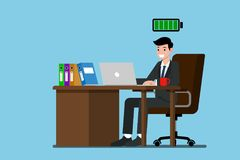 Businessman work very happy with fully energy. Businessman work very happy at the desk with fully energy. Flat vector illustration design of employee character Stock Photos