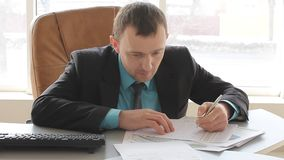Businessman at work stock video