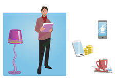 Businessman, worker, employee in casual clothes with a folder of documents in hand. Business Icons. Business design. Vector illust Stock Image