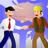 Businessman and worker Handshak Stock Photos