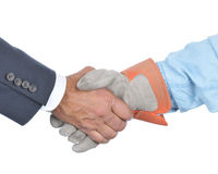 Businessman and Worker Handshake Royalty Free Stock Image