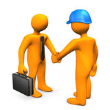 Businessman Worker Handshake. Handshake with businessman and worker on the white. 3d illustration Stock Image