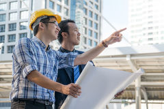 Businessman worker handshaking on construction Royalty Free Stock Image