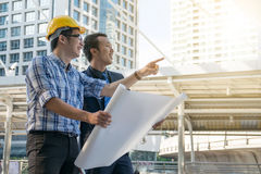Businessman worker handshaking on construction Stock Photography