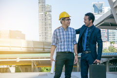 Businessman worker handshaking on construction Royalty Free Stock Photos