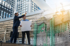 Businessman worker handshaking on construction site Royalty Free Stock Photography