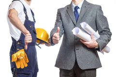 Businessman and worker with helmet Stock Image