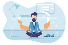 Businessman in working balance of zen. Meditation and concentration. Vector illustration stock illustration