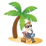 Businessman working beach vacation Stock Photo