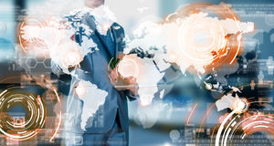 Businessman working with business globalization concept Stock Photos