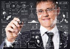 Businessman working with a business plan. Financial, currency, technology and money concept Stock Image