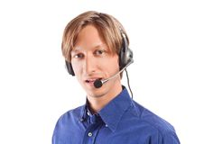 Businessman working in a call center Stock Photos