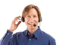 Businessman working in a call center Royalty Free Stock Image