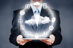 Businessman working on cloud computing Royalty Free Stock Images