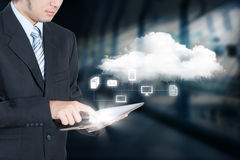 Businessman working on cloud computing Stock Images