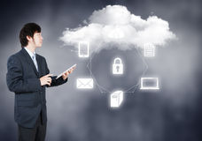 Businessman working on cloud computing Royalty Free Stock Photography