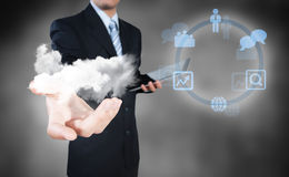 Businessman working on cloud computing Stock Photography