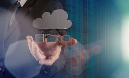 Businessman working with a Cloud Computing diagram Stock Images