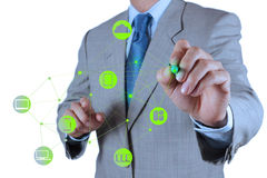 Businessman working with a Cloud Computing diagram on the new co Royalty Free Stock Photo