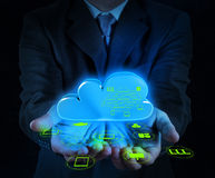 Businessman working with a Cloud Computing diagram on the new co Stock Photos