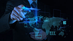 Businessman working with a Cloud Computing diagram on the new co stock image