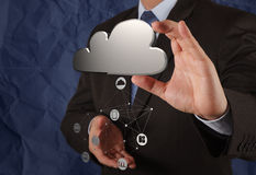 Businessman working with Cloud Computing diagram on the new comp Stock Photography
