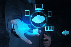 Businessman working with a Cloud Computing diagram Stock Image