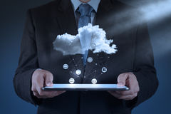 Businessman working with a Cloud Computing Stock Photos