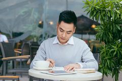 Businessman working at the coffee shop - Image.  royalty free stock image