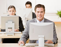 Businessman working on computer Royalty Free Stock Image