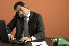 Businessman Working on Computer - Horizontal Royalty Free Stock Photos