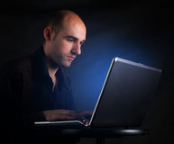 Businessman working at computer laptop Royalty Free Stock Photos