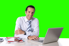 Businessman working on computer laptop sitting at office desk  chroma key Royalty Free Stock Photography