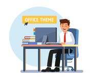 Businessman working on computer. Man sitting on blue chair. Vector Royalty Free Stock Image