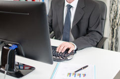Businessman working on a computer Royalty Free Stock Photography