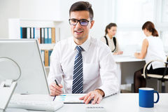 Businessman working with computer Royalty Free Stock Image