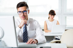 Businessman working with computer Royalty Free Stock Photos