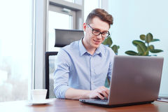 Businessman working on computer in office Royalty Free Stock Image
