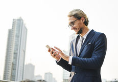 Businessman Working Connecting Smart Phone Concept Stock Photo
