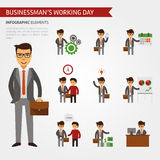 Businessman working day infographic elements. Business icons vector flat, meeting, growth, handshake, the deal, idea, income talks proceedings Royalty Free Stock Photos