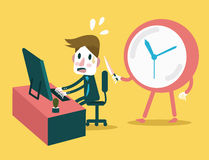 Businessman working in the deadline time with clock threaten. Abstract concept design. Stock Image