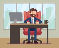 Businessman working at desk with laptop in corporate office workplace. Business table and businessman in office desk. Vector illustration stock illustration