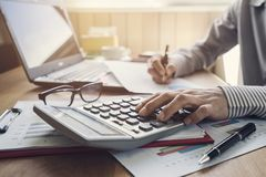 Businessman working on Desk office business financial accounting. Calculate Royalty Free Stock Photography